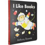 英文原版绘本 I Like Books 我喜欢书 纸板书 Anthony browne 安东尼布朗