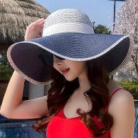 可折叠防晒太阳帽出游海边百搭度假沙滩帽遮阳草帽大沿帽子女