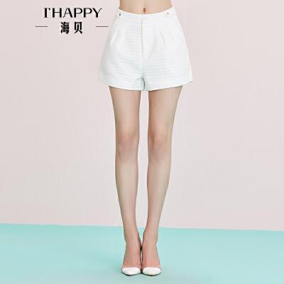 海贝年秋季新款女 高腰A字立体压花纯色修身短裤