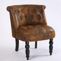 沙发欧式单人沙发双人三人小户型店铺服装店咖啡厅卧室沙发椅 麂皮绒 麂皮绒带铆钉