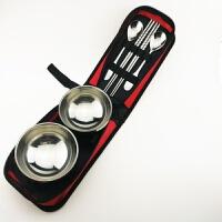 户外餐具碗不锈钢装备用品便携捷野营双人野餐包旅游旅行餐具套装d