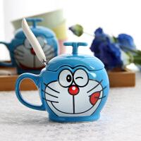 哆啦A梦叮当猫陶瓷创意马克杯水杯卡通杯子情侣杯咖啡杯子带盖勺