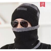 韩版暖男休闲针织套帽(帽子+围脖) 护耳保暖加绒加厚 羊绒毛线帽