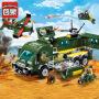 启蒙军事积木拼装玩具特警飞机陆军大战装甲车遇袭益智拼装拼积木