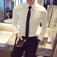 2017秋装新款男士长袖衬衣韩版商务休闲皱免烫衬衫青年修身寸衫