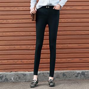 新款黑色打底裤女外穿高腰紧身小脚裤女铅笔大码魔术裤
