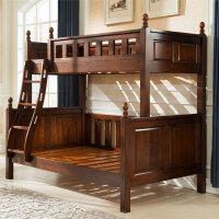 美式家具�和�高低床上下床��木子母床胡桃木�p�哟步M合床