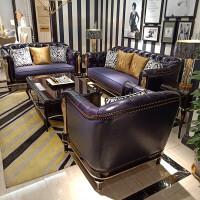 欧式沙发组合后现代简欧真皮实木美式新古典轻奢别墅沙发家具定制