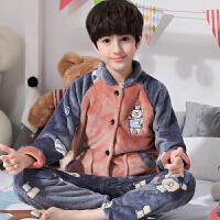 秋冬季儿童法兰绒男孩睡衣男童中大童加厚款珊瑚绒家居服套装