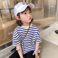 女童短袖T恤夏装女宝宝洋气时尚儿童夏季条纹上衣潮
