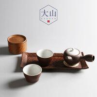 大山蕴窑日式粗陶干泡茶盘 旅行装 一壶两杯 功夫茶具 锈红侧把壶礼盒装
