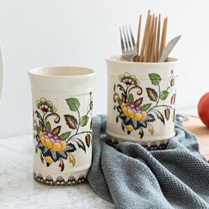 奇居良品 欧式厨房装饰摆件 冰裂纹陶瓷贴花系列筷子架筷子筒