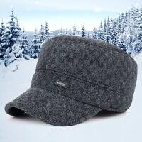 帽子男士新款秋冬季保暖护耳中老年户外休闲帽运动军帽毛呢平顶帽