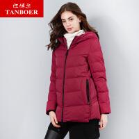 坦博尔羽绒服女中老年短款时尚连帽短款2018新品保暖外套 TD18158