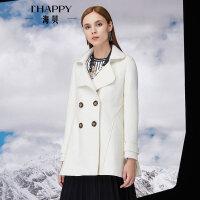【11月22日上新】海贝冬季新款女装外套翻领双排扣中长款毛呢大衣