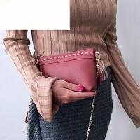 JIY新款撞色编织真皮简约通勤女士手包三用长款钱包单肩斜挎 红色