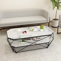 北欧大理石茶几长方形客厅时尚铁艺桌设计师家具简约艺术创意轻奢 整装
