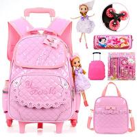 韩版儿童箱拉杆书包女孩小学生书包三轮1-3-5年级6-周岁双肩包 粉色(pu免清洗)六轮