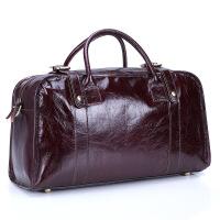 手提包男女旅行包头层牛皮行李包出差男包韩版单肩斜跨包 酒红色 18寸