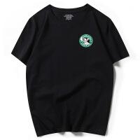 男式短袖T恤100%纯棉半袖港风潮牌体恤宽松夏季大码44