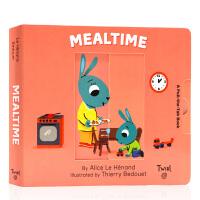 英文原版绘本 Pull and Play Mealtime 进餐时间 抽拉玩机关操作书 儿童生活习惯养成抽拉机关操作书