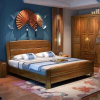 中式实木床 现代简约单人床1.2米1.5米1.8米双人床橡胶木卧室家具