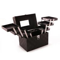 大容量化妆包 手提便携大号化妆箱多层简约收纳包shq 黑色