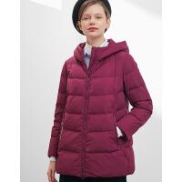 坦博尔羽绒服女2018新款中年女士妈妈宽连帽宽松保暖外套 TD18226