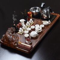 整套茶盘茶具陶瓷功夫茶具套装紫砂商务礼品定制整套紫砂陶瓷功夫茶具套装紫砂茶具套装家用实木茶盘