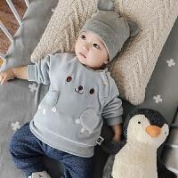 婴儿外套装男童秋装秋冬装加绒加厚婴幼儿女童洋气宝宝0岁1卫衣服