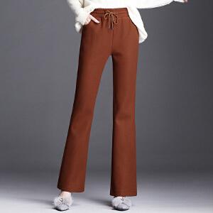 高腰毛呢微喇叭裤秋冬加大码休闲加厚长裤修身鱼尾裤显瘦女裤