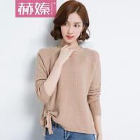 【赫��】2017秋冬韩版新款女装 纯色针织衫套头毛衣女系带长袖圆领毛衣Y5