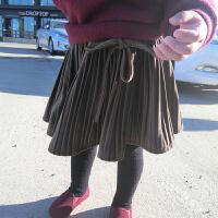韩国绒加厚百褶半裙 女童半身裙秋冬短裙儿童百褶裙韩版绒