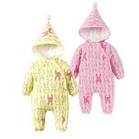 婴儿连体衣服0岁3月6宝宝2新生儿冬装冬季棉衣哈衣卡通