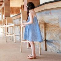 韩国童装连衣裙儿童沙滩裙海边度假女童蕾丝花边背心裙宝宝吊带裙