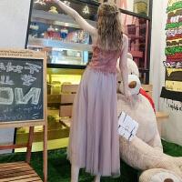 夏装新款女装+网纱半身长裙时尚套装潮气质度假吊带蕾丝衫两件套