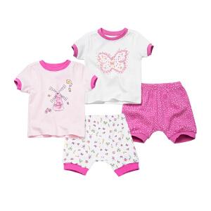 女婴儿外服短袖T恤裤子套装纯棉短袖短裤套装超值2件套套装