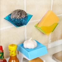 创意家居YL双吸盘厨房用海绵沥水架 卫生厨房杂物收纳架 大红色3个装