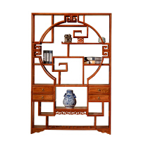 博古架实木中式多宝阁仿古家具南榆木茶叶茶室展示客厅隔断置物架 1-1.2米