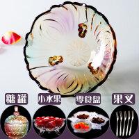 2019新款玻璃水果盆 欧式水晶玻璃水果盘 现代创意客厅家用茶几篮 大号糖果干果沙拉盆