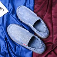 夏季老北京布鞋男韩版男士帆布鞋低帮休闲鞋透气防臭一脚蹬懒人鞋