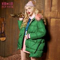妖精的口袋自由走天下冬装宽松前短后长毛领连帽羽绒服女中长款