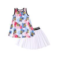 【2件5.5折到手价:92】小猪班纳童装女童套装儿童无袖背心网纱裙两件套
