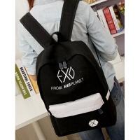 EXO书包2018新款韩版帆布学院风双肩背包男包女包学生书包潮