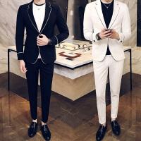 秋季韩版小西装男士修身商务西服套装休闲潮流酒吧夜场男装2件套