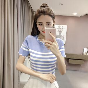 【班图诗妮】夏新款性感条纹拼色冰丝t恤女短袖圆领修身薄针织衫上衣