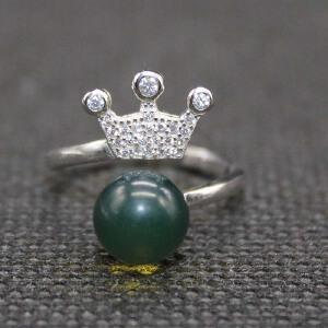 墨西哥蓝珀冠上加官戒指(带证书)