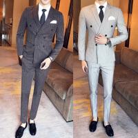 英伦修身男士条纹西服套装商务正装韩版潮流主持人结婚礼服三件套