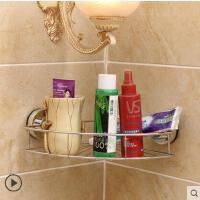 豪雅致壁挂置物架吸壁式浴室三角收纳架吸盘卫生间不锈钢转角架子室内多功能家居用品