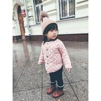 史豌豆宝宝棉衣加厚儿童2017新款女童冬装外套公主波点外套